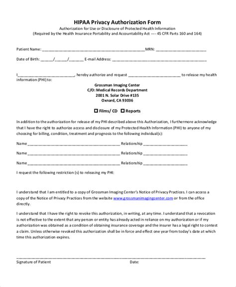 hipaa template forms sle hipaa authorization form 9 free documents in doc