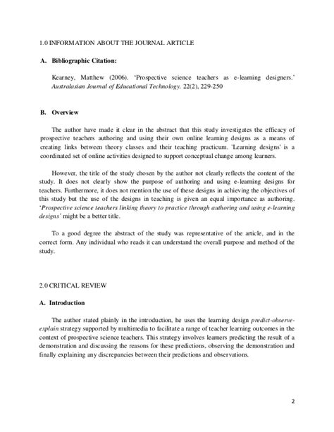 Scholarly Analysis Essay by Journal Article Analysis How To Write A Critical Review