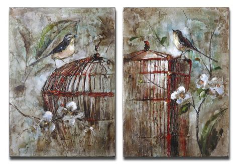 Uttermost Paintings uttermost 34226 birds in a cage canvas set 2 217 80