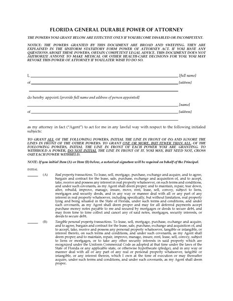 power of attorney template florida florida springing power of attorney forms and