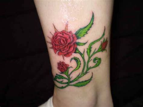 rose vine tattoo on leg leg 117 pretty with thorns and prettyy