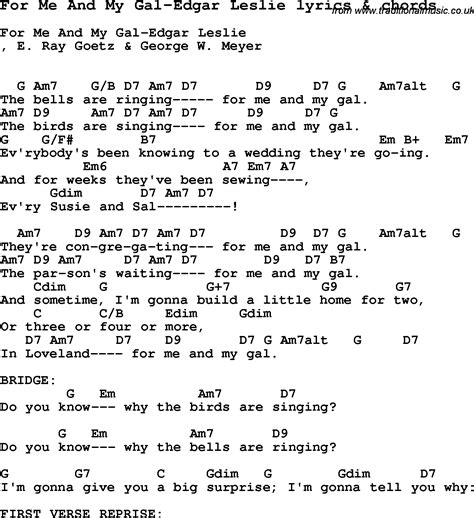lyrics leslie song lyrics for for me and my gal edgar leslie with