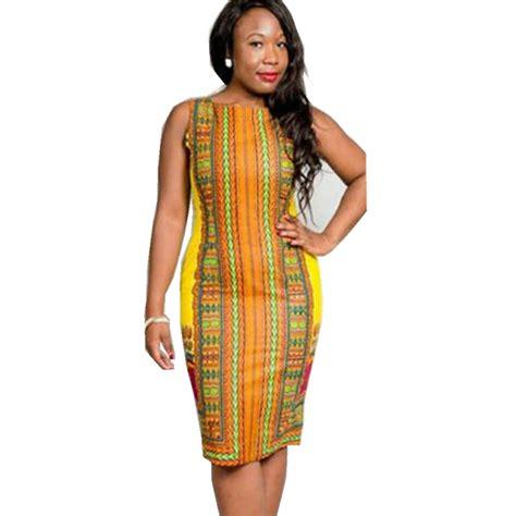 hight quality womens yellow print dashiki dress