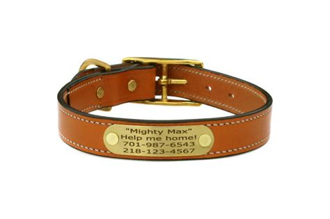 leather collars with name plate bridle leather collar with personalized nameplate