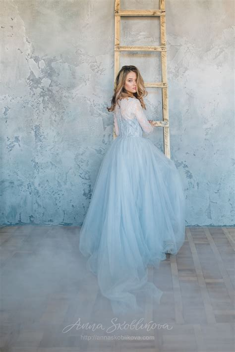 a blue wedding dress blue grey wedding dress from lace and tulle anna
