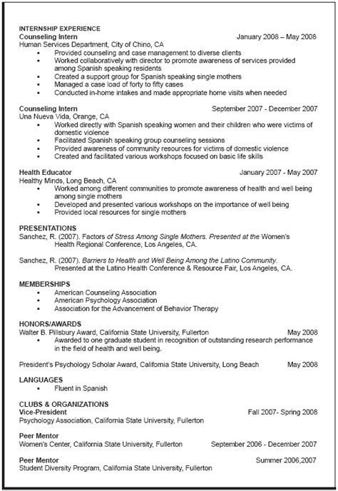 Curriculum Vitae Exle For Graduate School Applicant Curriculum Vitae Sle Graduate School All Business Resume Format