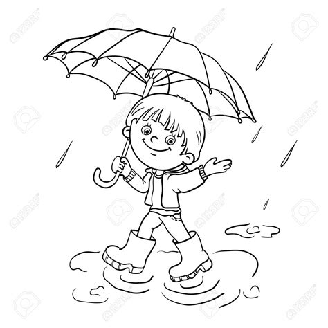 animations a 2 z coloring pages of rain boy with umbrella clipart 50
