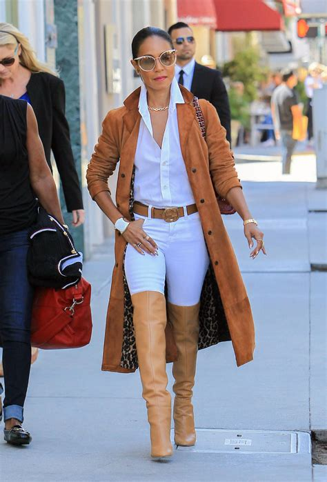 Home Decor Ideas On A Budget Blog by Jada Pinkett Smith S Camel Trench And Over The Knee Boots
