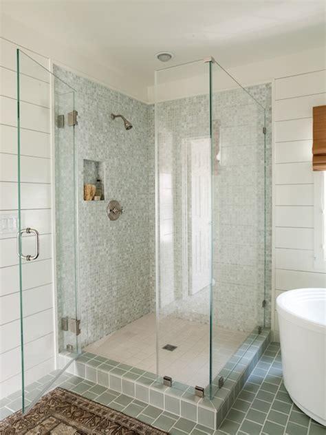 shiplap tub surround blue gray shower tiles cottage bathroom lauren liess