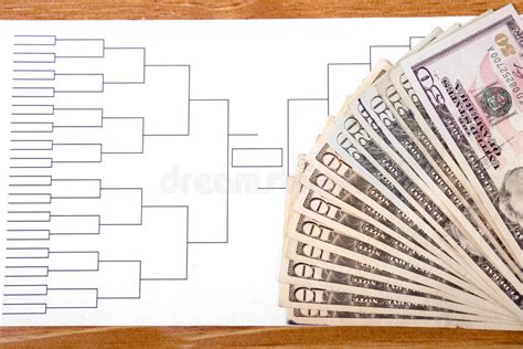 Bracket Win Money - march madness bracket and fanned money on right royalty free stock images image