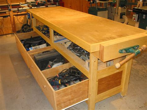 work bench storage wood shop photographs