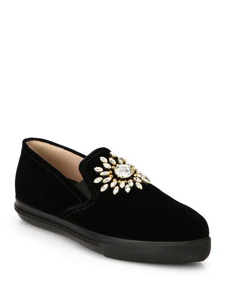 miu miu velvet sneakers miu miu velvet embellished skate shoes in black lyst