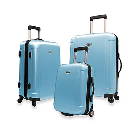 bed bath and beyond suitcases traveler s freedom 3 piece hardside spinner luggage set