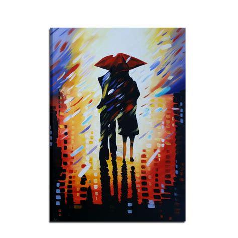 quadro dipinto  mano coppia sotto la pioggia