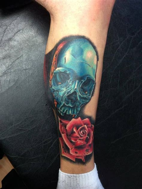tattoo new school style new school style colored tattoo of blue iron skull with
