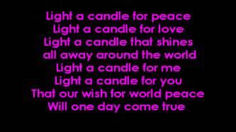 light lyrics light a candle for peace with lyrics on screen