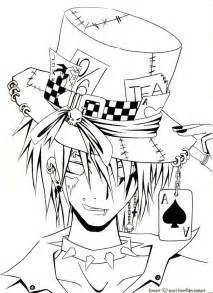 Anime Girl Mad Hatter Coloring Page Sketch sketch template