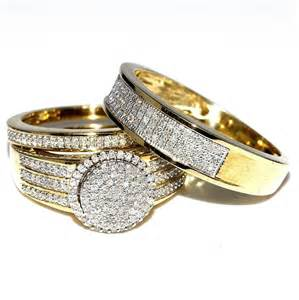 his and wedding sets his and bridal rings set trio 0 73ct 10k yellow gold halo style wedding ring ebay