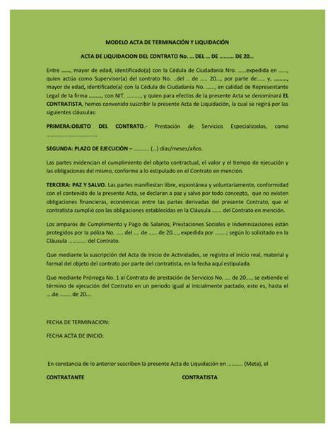 modelo de mutuo acuerdo derecho laboral panam ensayos modelo acta de terminaci 211 n y liquidaci 211 n