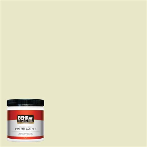 behr premium plus 8 oz 370a 2 pale daffodil interior exterior paint sle 370a 2pp the home
