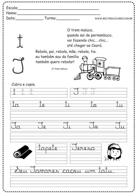 20 - Caderno Caligrafia letra T | Atividades de caligrafia