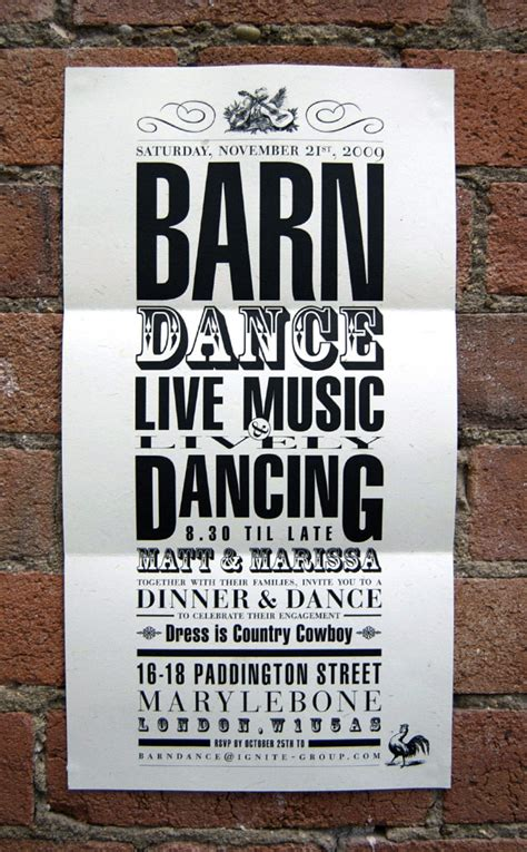 barn dance invite popcorn design london