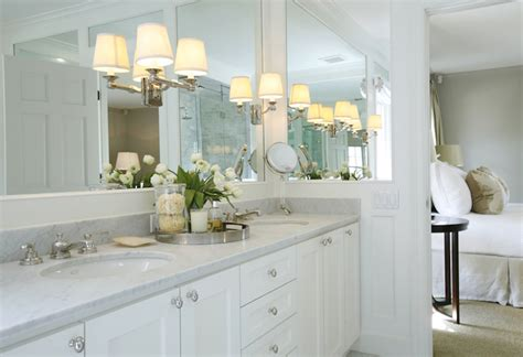 Mirror Height Above Vanity sconces on mirror transitional bathroom ashley
