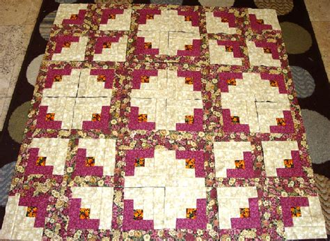 36 burgundy log cabin quilt top fabric blocks squares kit