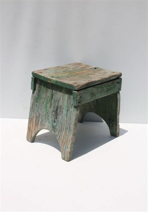 vintage wood wooden stool bench step stool green painted