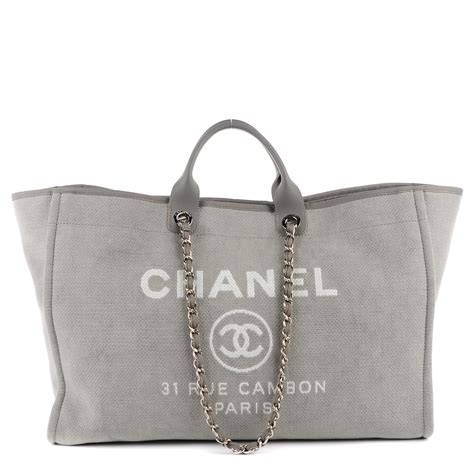 Deauville Shopper Tote Bags Printed chanel canvas deauville large tote grey