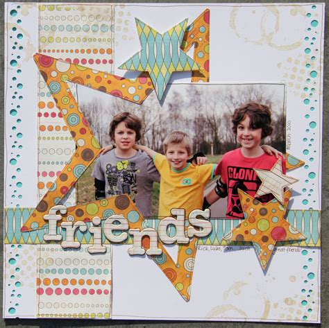 scrapbook layout for friends love the colors patterns for a tween girl scrapbooking