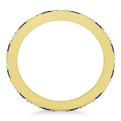 Blue Sapphire 1 44ct blue sapphire eternity wedding band 14k yellow