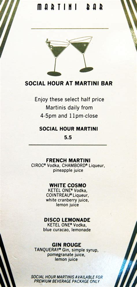 martini bar menu reflection menus