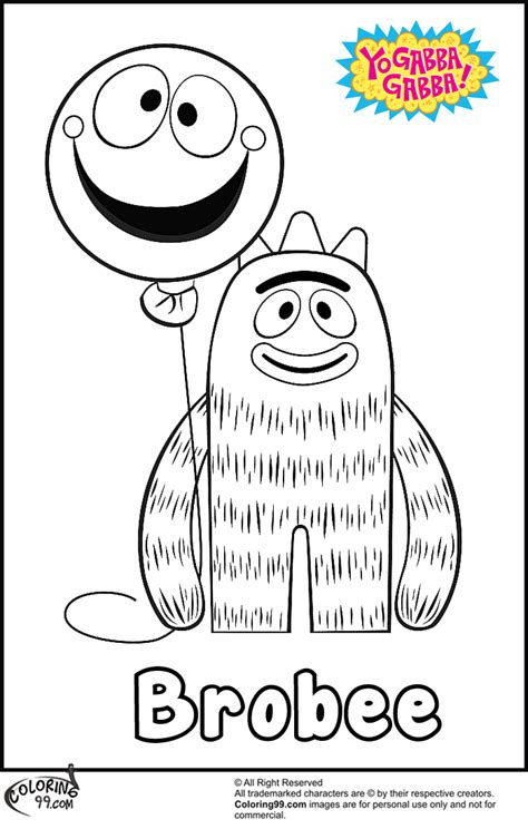 free coloring pages of yo gabba gabba brobee