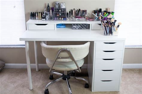 add a drawer under a table makeup desk is made up using the alex drawer unit alex