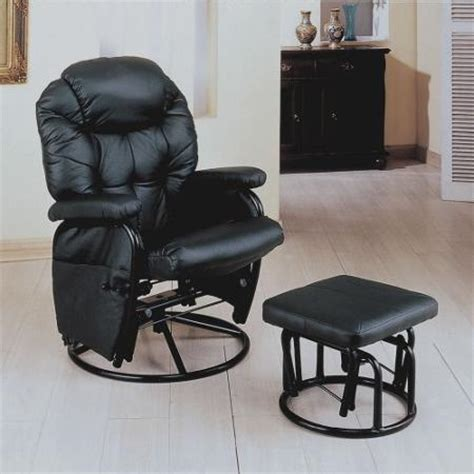 leather swivel rocker recliner with ottoman buy coaster rimini euro faux leather glider recliner and