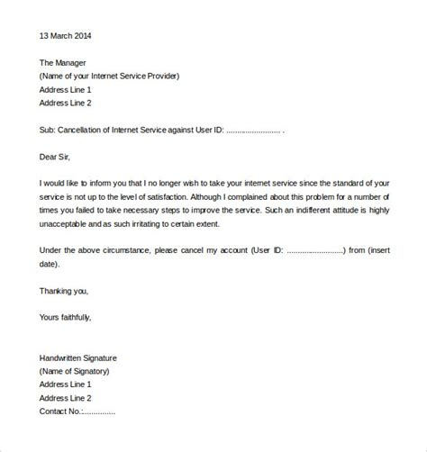 connection cancellation letter format request letter for connection template images