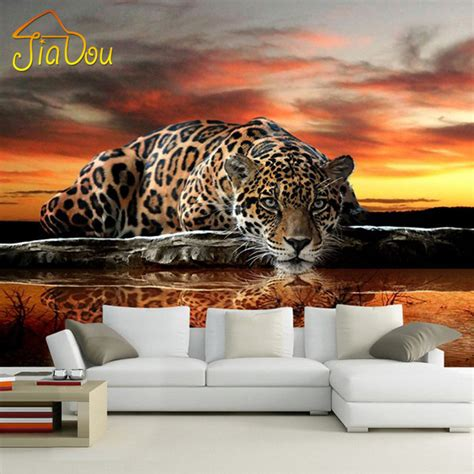 animal wall mural aliexpress buy custom photo wallpaper 3d stereoscopic animal leopard mural wallpaper