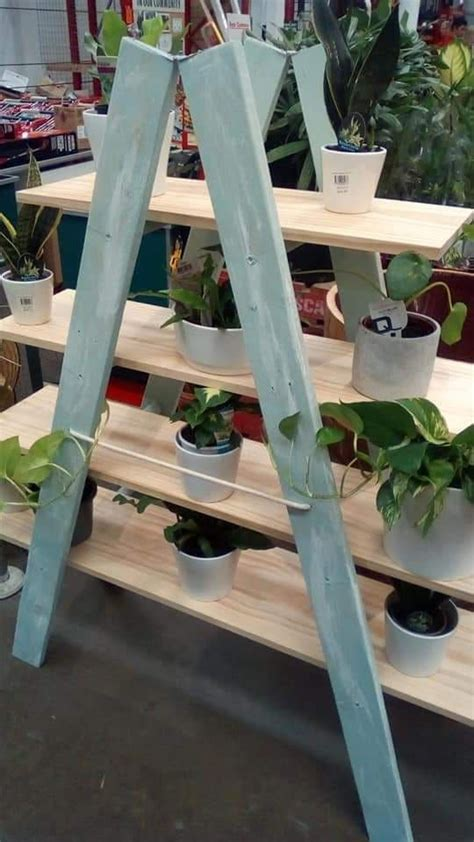 rustic recycled pallet ladder pot stand bunnings