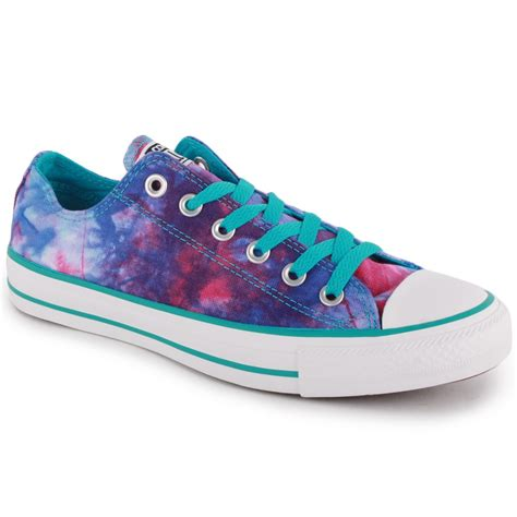 converse chuck all tie dye ox 142454f unisex laced textile trainers blue multicolour