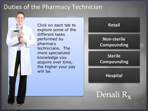 different types of pharmacies and technicians denali rx