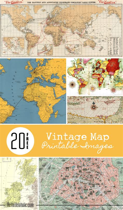 printable maps remodelaholic free vintage map printable remodelaholic 20 free vintage map printable images
