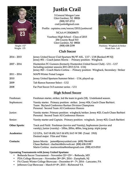 sports profile template college soccer player resume soccer