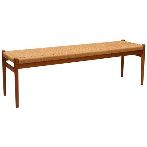 teak bench seat danish teak bench cord seat j l moller at 1stdibs