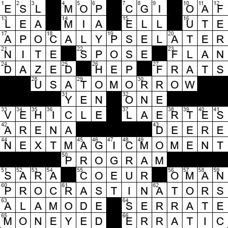 usa today crossword answers march 13 2015 quot hamlet thou art slain quot speaker crossword clue archives