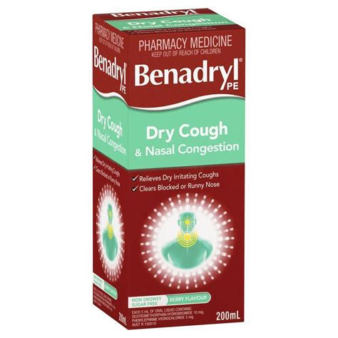 dry couch benadryl pe dry cough nasal congestion 200ml epharmacy