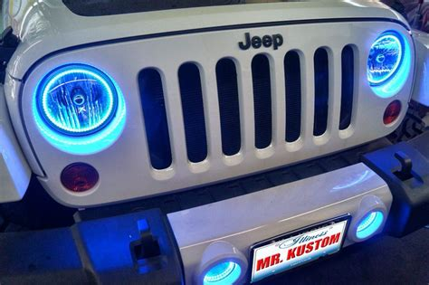 Jeep Wrangler Blue Headlights Multi Color Halo Lights And Led Lighting 2012 Jeep