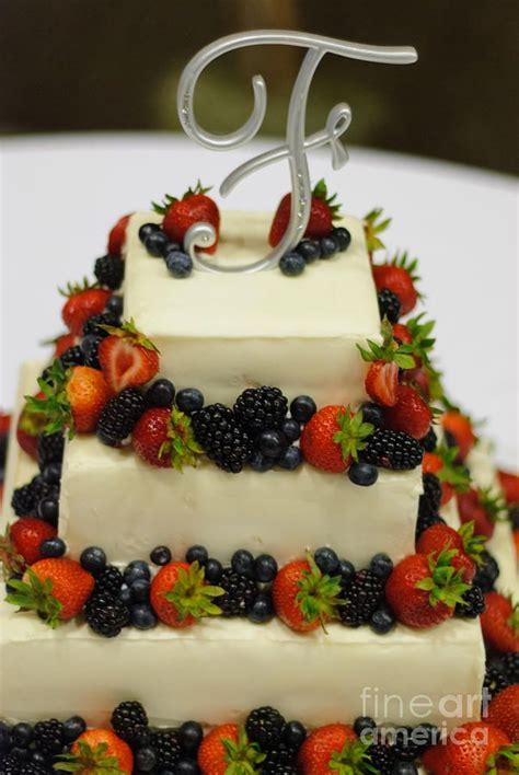 B 98 Wedding Cake With Fruit Photograph   Wedding Cake