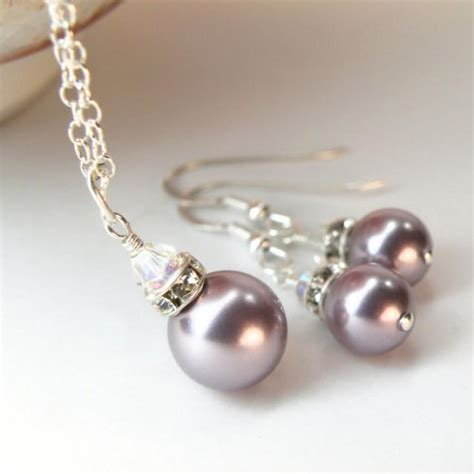 Pearl Handmade Jewelry - purple pearl jewelry set bridesmaid pearl set