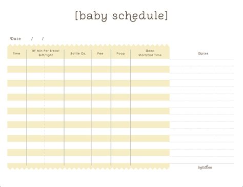 baby routine template a printable baby schedule in yellow this is great to use